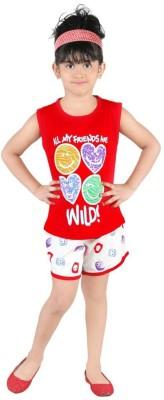 Bella & Brat Girl's Printed Red, White Top & Shorts Set