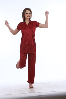 Eeshar Women's Solid Maroon Top & Pyjama Set