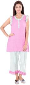 9teenAGAIN Women's Checkered Pink Top & Pyjama Set
