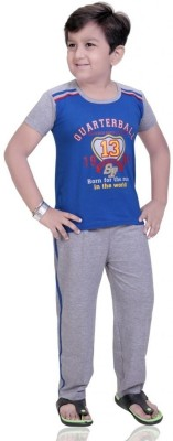 Mint Boy,s Printed Blue Top & Pyjama Set