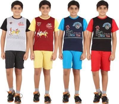 Zippy Boy's Printed Grey, Maroon, Dark Blue, Black Top & Shorts Set