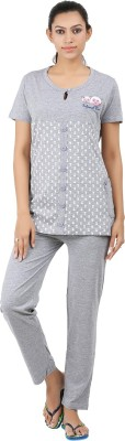 Informal Wear Women's Animal Print Grey Top & Pyjama Set