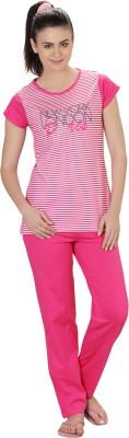 Lazy Dazy Women's Striped White, Pink Top & Pyjama Set