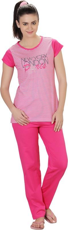 Lazy Dazy Women's Solid White, Pink Top & Pyjama Set