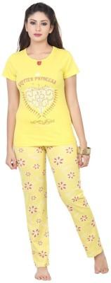 Sunwin Women's Printed Yellow Top & Pyjama Set