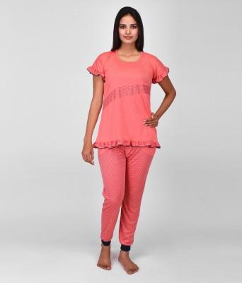 World Of Fashion Women's Solid Red Top & Pyjama Set