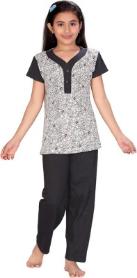 ABHIRA Girl's Printed White, Black Top & Pyjama Set