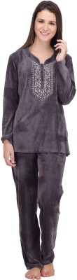 SHEnSHE Women's Solid Grey Top & Pyjama Set