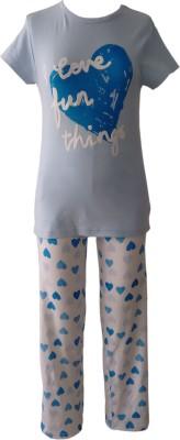 Sweet Dreams Girl's Graphic Print Blue Top & Pyjama Set