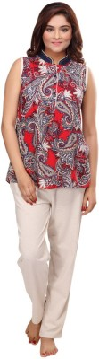 Fragrance Women's Paisley Red Top & Pyjama Set