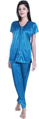 Claura Women's Solid Light Blue Top & Pyjama Set