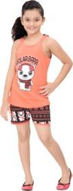 Red Ring Kids Nightwear Girls Printed Cotton(Orange)