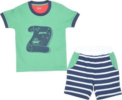 PRANAVA Boy's Printed Green Top & Shorts Set