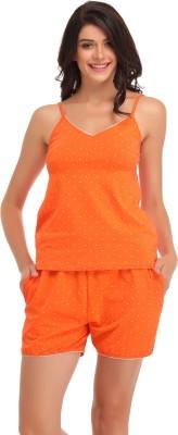 Clovia Women's Printed Orange Top & Shorts Set at flipkart