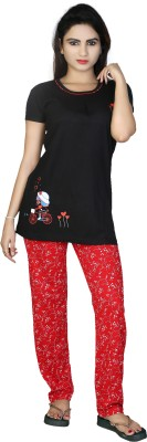 F FASHIONSTYLUS Women's Printed Black, Red Top & Pyjama Set