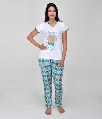 World Of Fashion Women's Printed Green Top & Pyjama Set