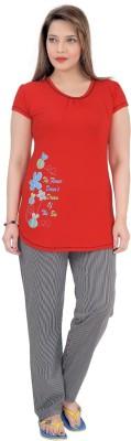 Mint Women,s Striped Red Top & Pyjama Set