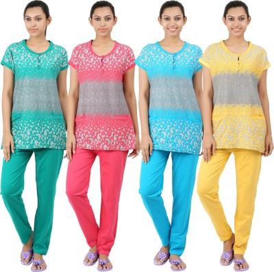 INFORMAL WEAR Women's Floral Print Multicolor Top & Pyjama Set