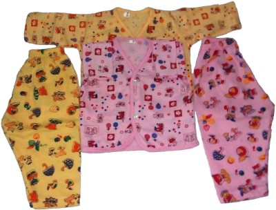 Thakkar Baby Girl,s Printed Pink Top & Pyjama Set