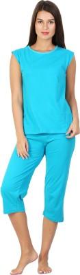 Click Hit Softle Top Payjama set Women's Solid Light Blue, Light Blue T-shirt & Three-forth Set