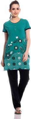 TAB91 Praveen Women's Printed Green, Black Top & Pyjama Set