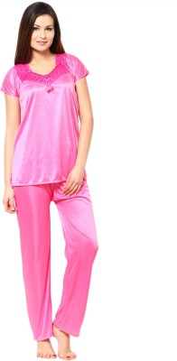 Neets Fashion Women's Solid Pink Top & Pyjama Set