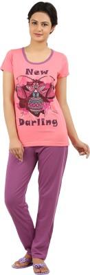 New Darling Women's Printed Pink, Purple Top & Pyjama Set