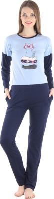 Private Lives Women's Solid Blue Top & Pyjama Set