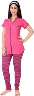 Farry Women's Self Design Pink Top & Pyjama Set
