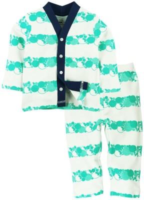 Babyoye Baby Boy's Printed Light Green Top & Pyjama Set