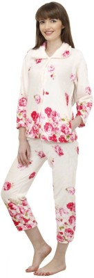 Camey Women's Floral Print White Top & Pyjama Set