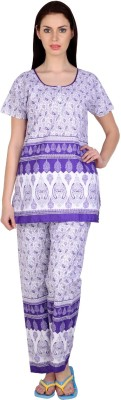 Simrit Women's Printed Purple Top & Pyjama Set