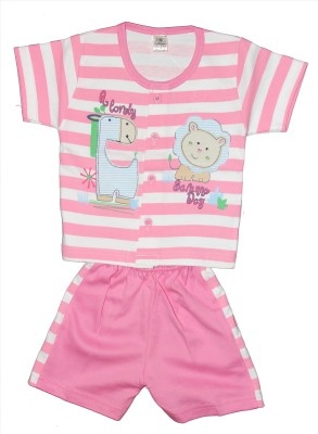 Kids Angel Baby Girls Striped Pink Top & Pyjama Set