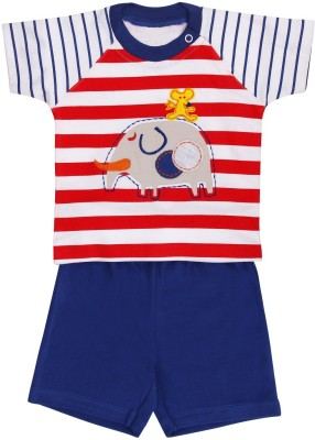 Munna Munni Kids Apparel Baby Boy's Printed, Striped, Solid Blue, Red Top & Shorts Set