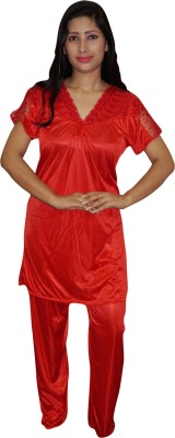 Indiatrendzs Women's Solid Red Top & Pyjama Set