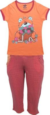 Kothari Girl's Printed Multicolor Top & Pyjama Set