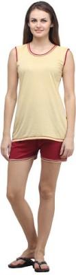 Klamotten Women's Solid Multicolor Top & Shorts Set