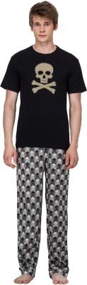 Nuteez Men's Printed Black Top & Pyjama Set