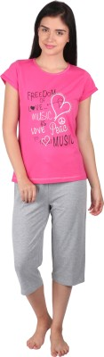 Lazy Dazy Women's Printed Pink, Grey Top & Pyjama Set