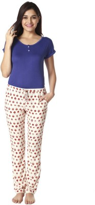 Mystere Paris Women's Printed Blue Top & Pyjama Set