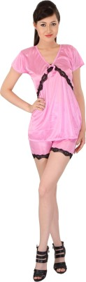 For She Enchanting Light Pink Satin Nightwear With Women's Solid Pink Top & Shorts Set