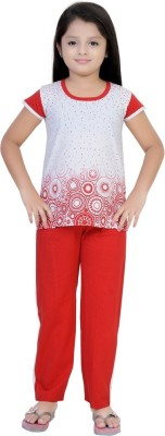 Be 13 Girl's Self Design Red Top & Pyjama Set