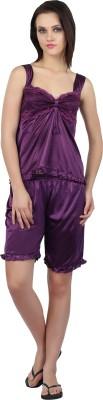Teleno Night Women's Solid Purple Top & Shorts Set