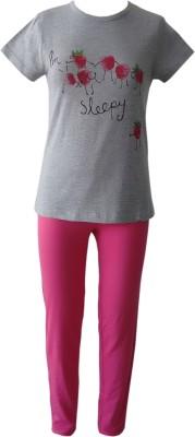 Sweet Dreams Girl's Graphic Print Grey Top & Pyjama Set