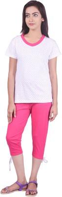 Limeberry Women's Printed Pink Top & Capri Set