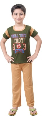 Be 13 Boy's Printed Green Top & Pyjama Set