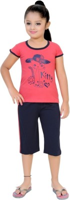 Be 13 Girl's Self Design Pink Top & Capri Set