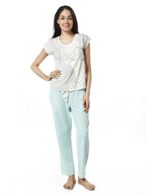 Mystere Paris Women's Printed Blue, Grey Top & Pyjama Set