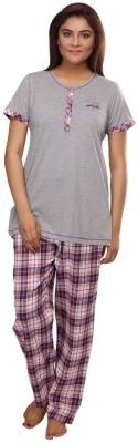 Fragrance Women's Solid Grey Top & Pyjama Set