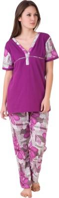 Masha Women's Printed Purple Top & Pyjama Set
